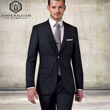 LN012 Business Men Suits Custom Made Bespoke Classic Black Wedding Suits For Men Tailor Made Groom Two pieces (Jacket+Pants)