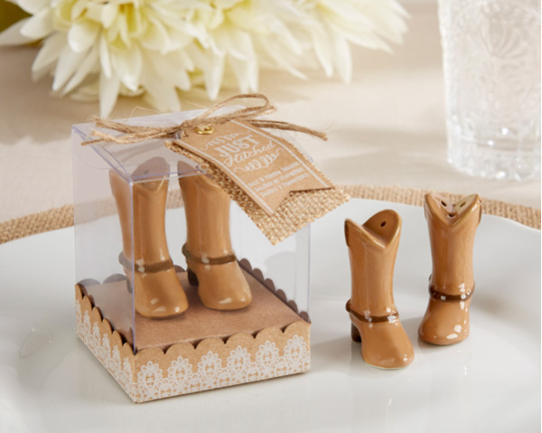200pcs=100sets/Lot+Just Hitched Ceramic Cowboy Boot Salt and Pepper Shakers Bridal Shower Favors For Guest+FREE SHIPPING