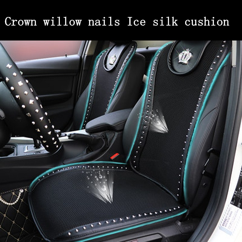 Crown Rivets Car Seat Cushion Black Summer Ice Silk Front Seats Cover Universal Size Breathable Auto