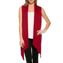 Women Summer  Jacket Soft Sleeveless Outerwear Cardigan Long Top Coat Waistco