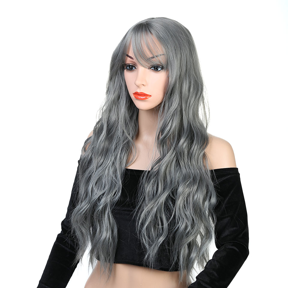 Pageup Wavy Hair Cosplay Long Wigs With Bangs For Women Ladies Heat Resistant Black Blue Blonde Pink Green Gray Synthetic Wig (3)