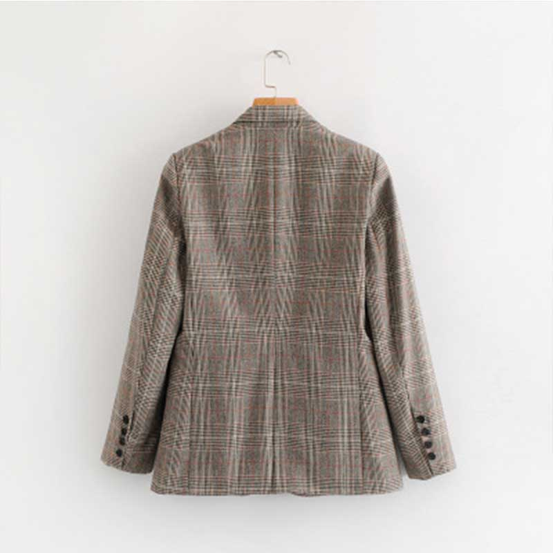 liva girl Women Plaid Blazer Autumn spring 2019 Long Sleeve single Breasted Coat Jacket Office Lady Casual Outerwear