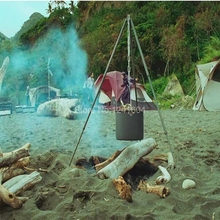 Alocs Outdoor Portable Campfire Tripod Camping Ultra-light Adjusting Campfire Barbecue BBQ Triangle Bracket Frame Shelf CF-RT06