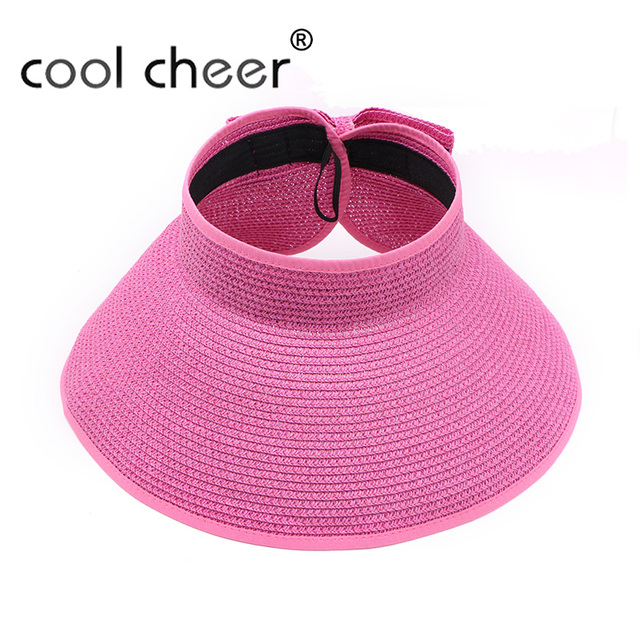 e49f3689 [CoolCheer] Fashion Women Lady Foldable Roll Up Sun Beach Wide Brim Straw  Visor Hat