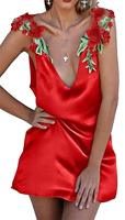 Womens Embroidery Satin Sleeveless Sexy Sleep Dress Nightgown