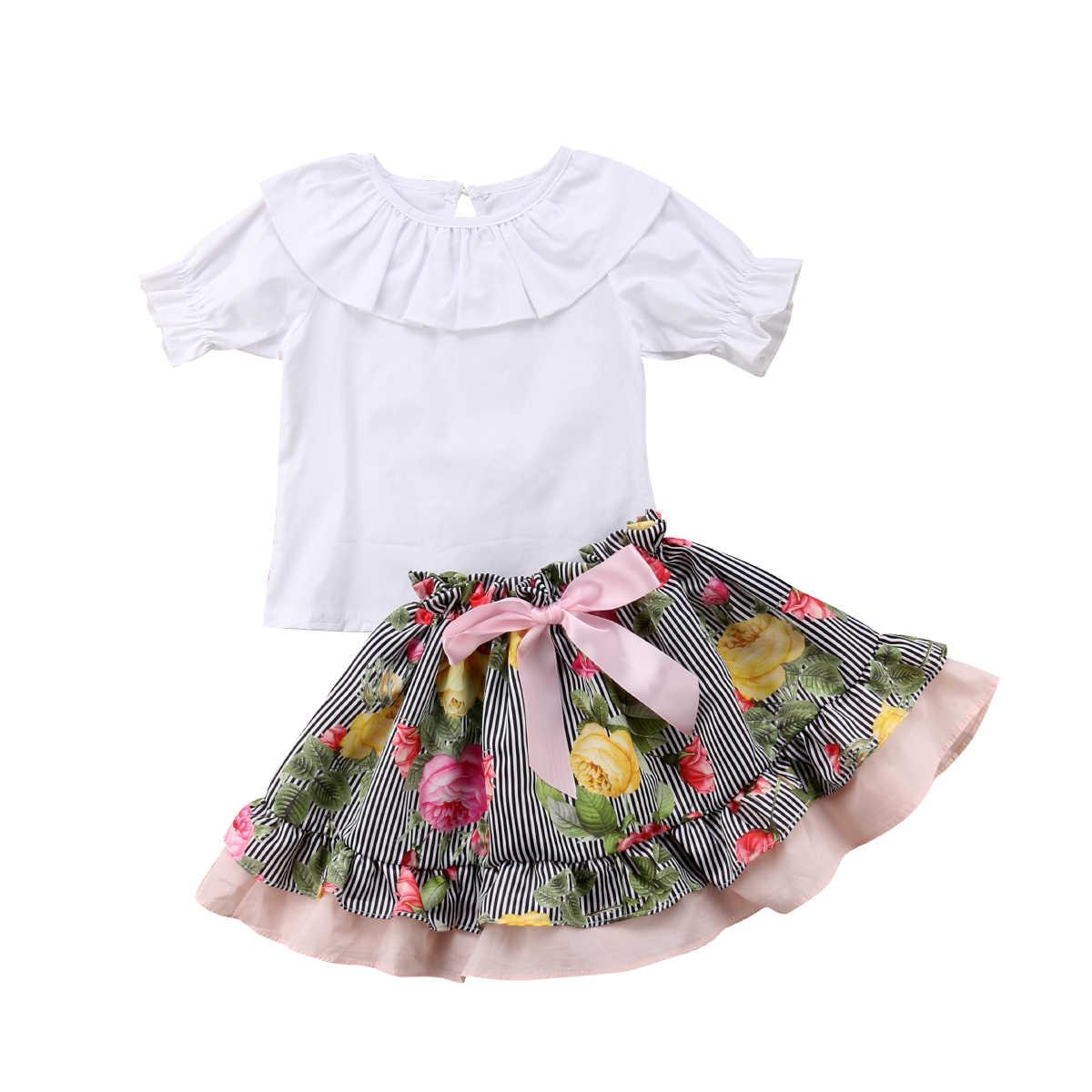 Популярная Футболка с оборками с коротким рукавом для маленьких девочек + шорты-пачки/юбки, одинаковые комплекты
