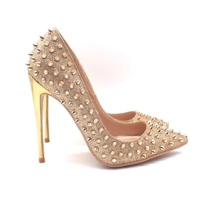 Zapatos Profundos Foto Bombas Picture Alto Bling Remaches Mujeres As Las Oro Real Punta Tacón Decoración Poco Metal De Vestido 1q1ra6