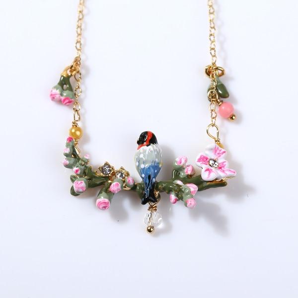 European fashion jewelry les nereides birds song on branch pink european fashion jewelry les nereides birds song on branch pink flower 24k golden necklace party jewelry mightylinksfo