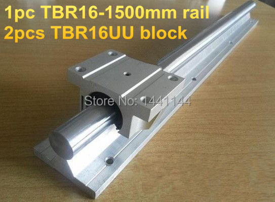 TBR16 linear guide rail: 1pcs TBR16 - 1500mm linear rail + 2pcs TBR16UU Flange linear slide block precise linear guide rail 1500mm aluminum linear guide rail