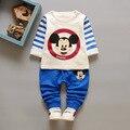 Мода дети мальчики одежда набор Микки С Длинными рукавами малыша одежды 2 шт. мальчиков майка + брюки спортивные костюм отдыха одежда