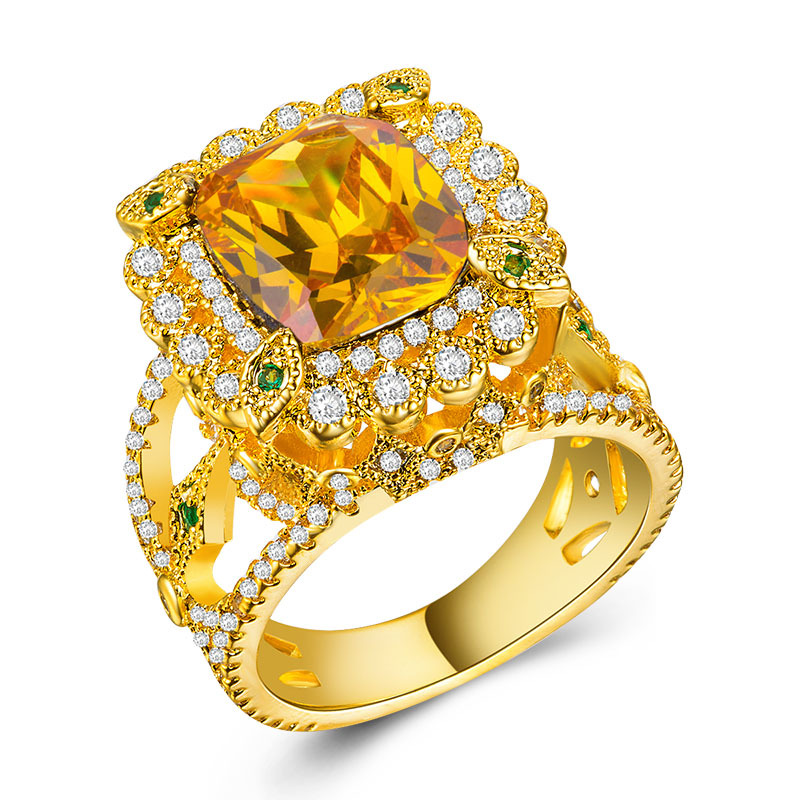 Rose Gold Rings Diamond Ring Emerald Topaz Crystal Moissanite Sapphire Ring Plated With 18k Yellow Gold Amethyst B1102