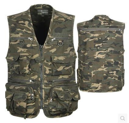 Camouflage vest 3XL 4XL Mens Vest Outdoors Cotton Multi Pocket Sleevless Jean Jacket Men Jeans Masculino
