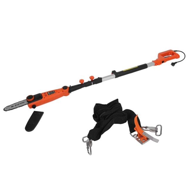Electric Chain Saw With Telescopic Pole Pruning Chain Saw Brush Cutter Hedge Trimmer Hedgerow Telescopic Handle Saw EU Plug
