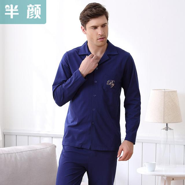 Hombres pijamas set pijamas 100% de algodón de primavera y otoño de los hombres de manga larga casa ropa de dormir ropa de noche envío gratis