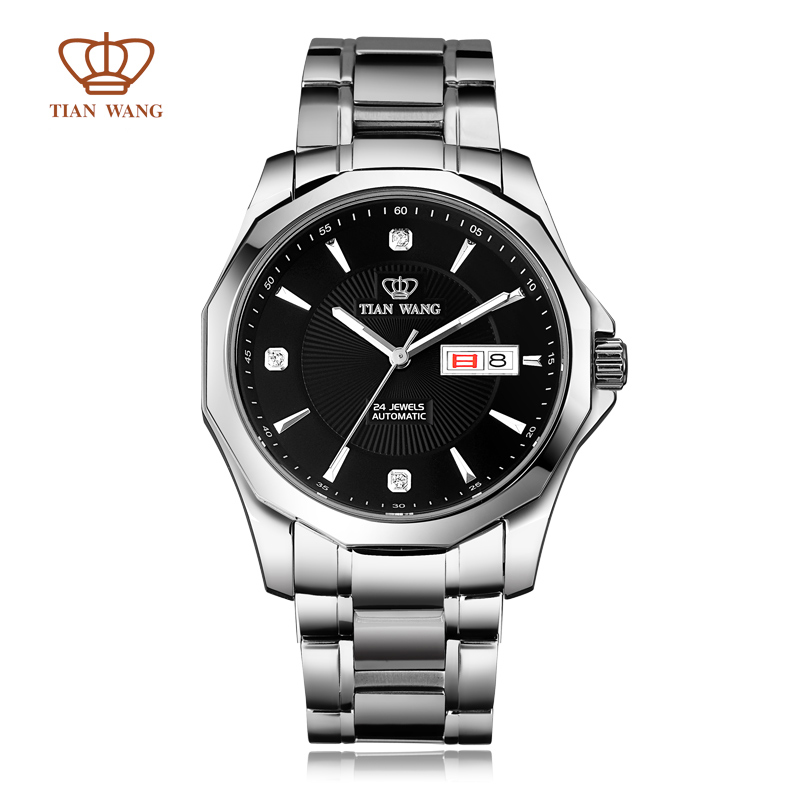 Authentic Tian Wang Brand wristwatch Luxury double calendar fully-automatic mechanical mens watch SS bracelet solid gs5705s/dd