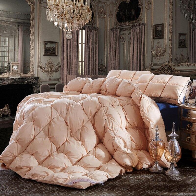 Reale di lusso naturale 95% piumino d'oca grade a camera da letto matrimoniale king size trapunta invernale per ipoallergenica bianco oro rosa