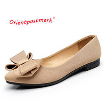 Orientpostmark Women Ballet Flats Shoes Pregnant Boat for Work Cloth Sweet Loafers Slip On