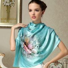 100% Mulberry Silk Long Printed Scarf Shawl Beach Cover-ups