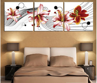 Modern Lily Flowers Art Pictures Red Big Flowers Painting For Home Decoration Gift For Friends Free