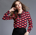 2017 Women Summer Newest Ruffled Collar Plaid Printed Shirts Fashion Geometric Patterns Long Sleeve Chiffon Shirts Blouses Tops