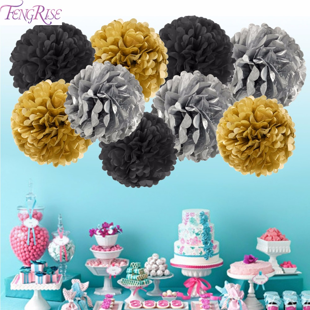 FENGRISE 3 pieces Gold Tissue Paper Tassel Garland Pom Poms Decorative Flowers Craft pompoms Wedding Decoration Birthday Party