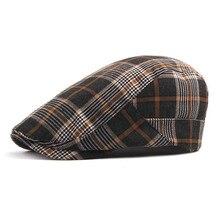 Осенне-зимняя мужская шапка, береты, британский западный стиль, шерсть, усовершенствованная плоская кепка плюща, Классическая винтажная полосатая Кепка