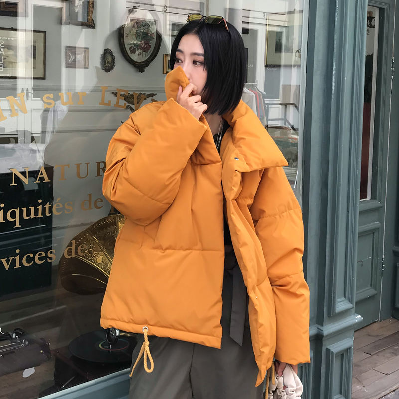 Korean Style 2019 Women Winter Jacket Stand Collar Breasted Buttons Padded Female Short   Parka   Warm Thicken Ladies Coat