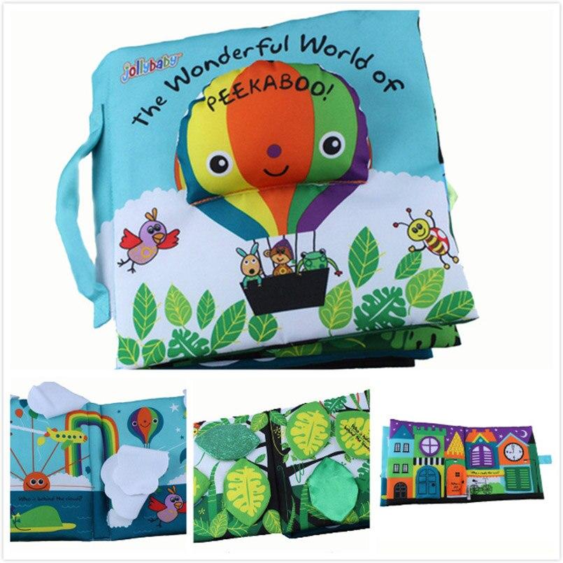 Weichen Tuch Buch Kinder Kid Pädagogisches Spielzeug Stoff Ballon Peekaboo Tiere Englisch Lehren Stereo Ruhig Buch Für Neugeborene Babys