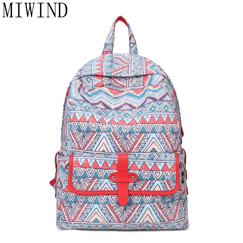 MIWIND Women Geometric Printing Backpacks Backpack for Girls Rucksack Bagpack School Bags for Teenage Girls Back Pack TJQ967 spain backpack kids children foot ball star backpacks for boys school bagpack girls youth rucksack student mochila bags