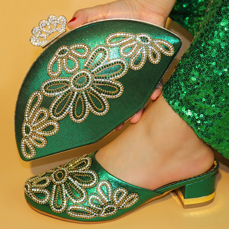 New color green Low heel comfortable slipper shoes with hand bag 2018 Italian shoes and bags matching set for wedding and party