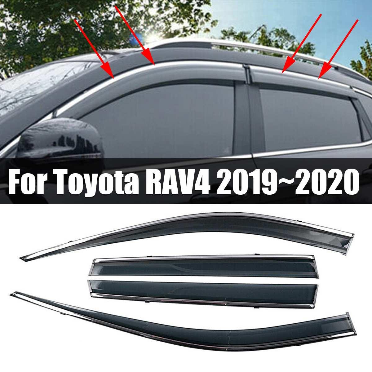 4 pçs/set Janela Viseira Ventilação defletor Guarda Chuva Cromo Guarnição Sun Sombra RAV4 Defletores Para Toyota 2019 ~ 2020