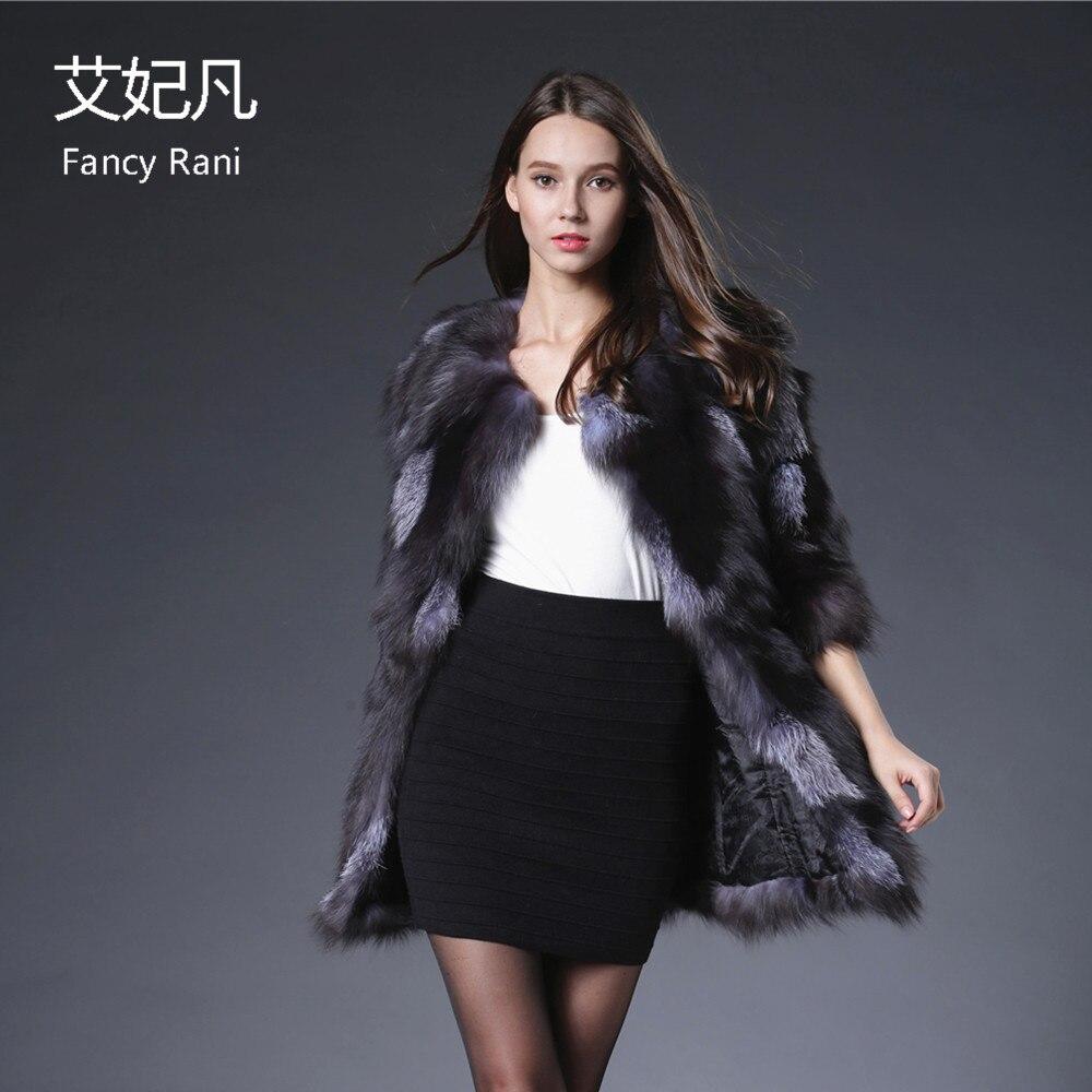 2018 Echte Fuchspelzmäntel für Frauen Kristall Jacke Mantel Silber - Damenbekleidung - Foto 6