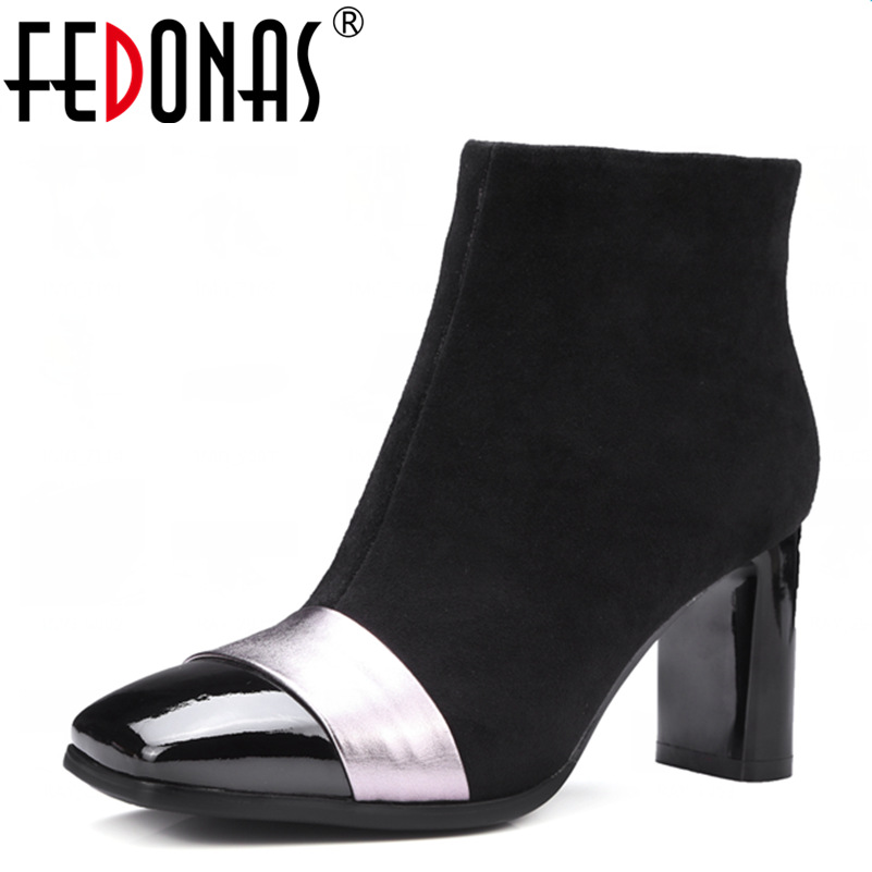 FEDONAS New Women Zipper Sexy Ankle Winter Warm Snow Boots Square Toe Women Martin Boots High Heels Martin Boots Shoes Woman rizabina genuine leather boots rivet square heels autumn winter ankle boots sexy martin fur snow boots shoes woman size34 39