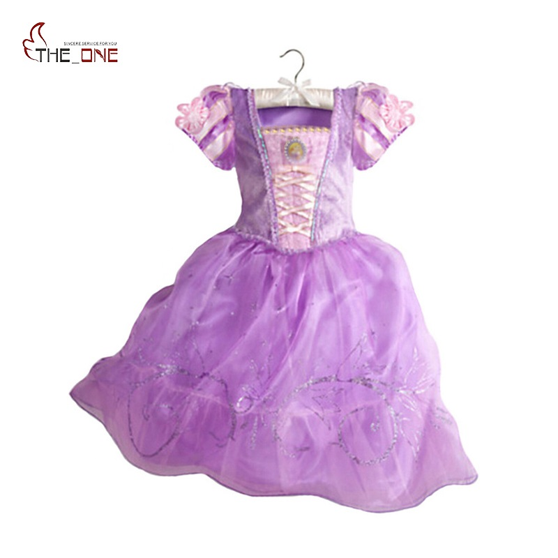 MUABABY Fete Printesa rochii Copii Tangled Rapunzel Costume Little Girl Femeie cu mânecă scurtă Flower White Snow White Party Dress