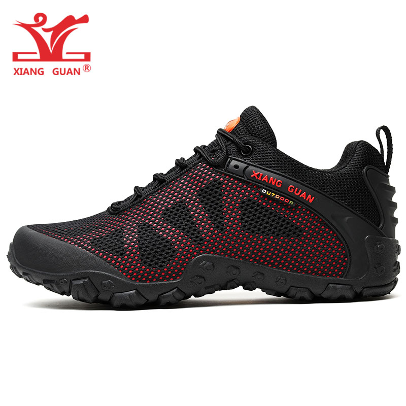 Man Hiking Shoes For Men Breathable Trekking Boots Black Red Hunting Tactical Climbing Footwear Sports Outdoor Walking Sneakers mulinsen winter2017 ankle boots hiking shoes for men hunting trekking men s sneakers breathable outdoor athletic sports brand