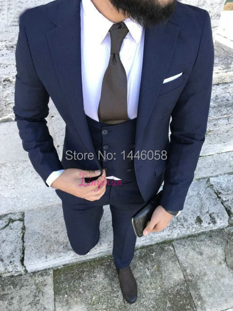 2018 New Navy blue Business Mens Suits Wedding Groom 3 Pieces Slim Fit Party Suit Dress Wedding Suits For Men Blazer Tuxedo