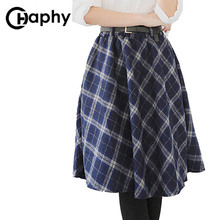Women s Plaid Skirts Tartan Woolen Plaid Skirts Kilt Winter Wool Umbrella A Line Vintage Plaid
