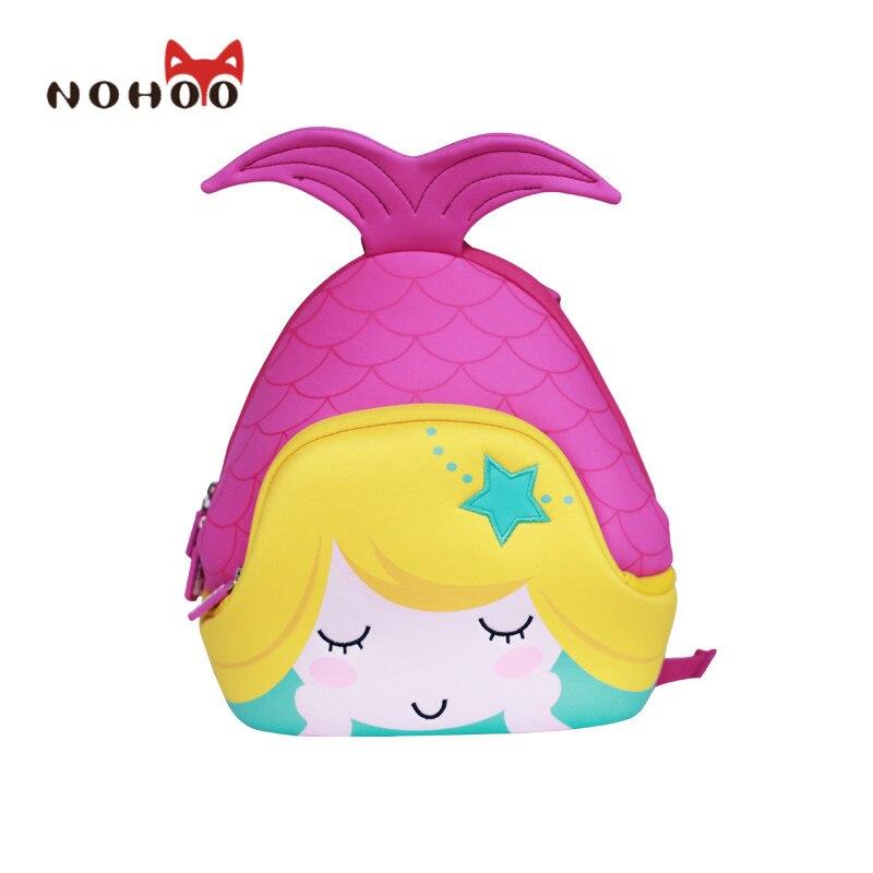 ФОТО NOHOO Butterfly Waterproof Children School Bags Mermaid Animals School Backpacks Teenage Girls Large Capacity Baby Backpack
