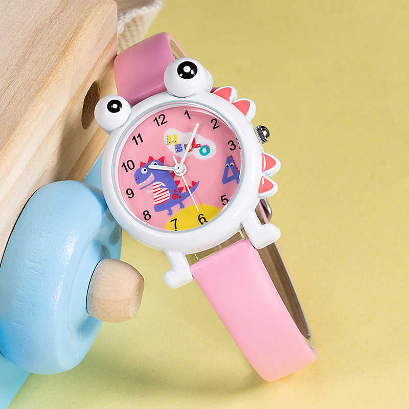 KDM 2019 Cute Lovely Kids Wristwatch Children Watch Kids Girl Boys Watches Cartoon Dinosaur Waterproof Leather Students Clock