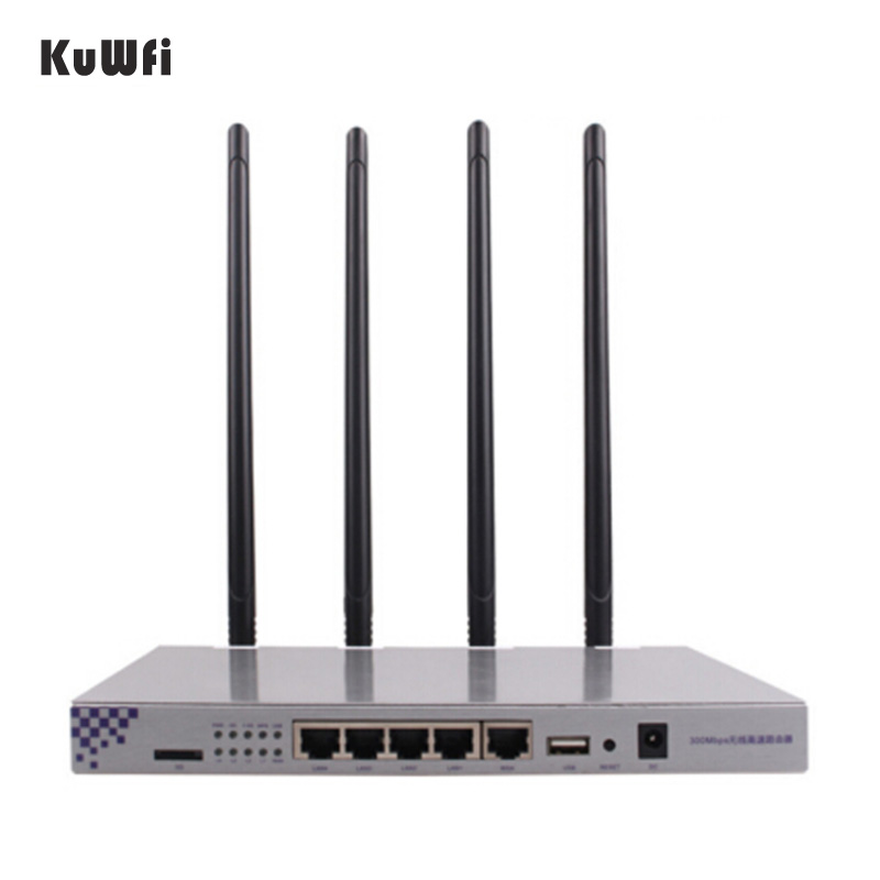 KuWFi OpenWrt 1200Mbps Long Range Wireless AP 1W High Power Wireless Router 2.4G 5.8G Dual Band Wifi Router 4*7dBi Antennas