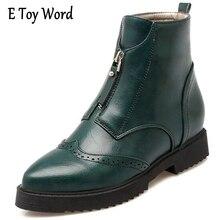 E игрушки слово Женские ботинки в британском стиле 2017 винтажные ботильоны повседневная обувь на платформе Женская обувь без застежек Женская обувь на плоской подошве XWX4346