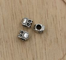 MIC 50pcs Tibetan Silver  Owl Large Hole Beads Fit European Charms Bracelet 7.8X10MM (xz22)