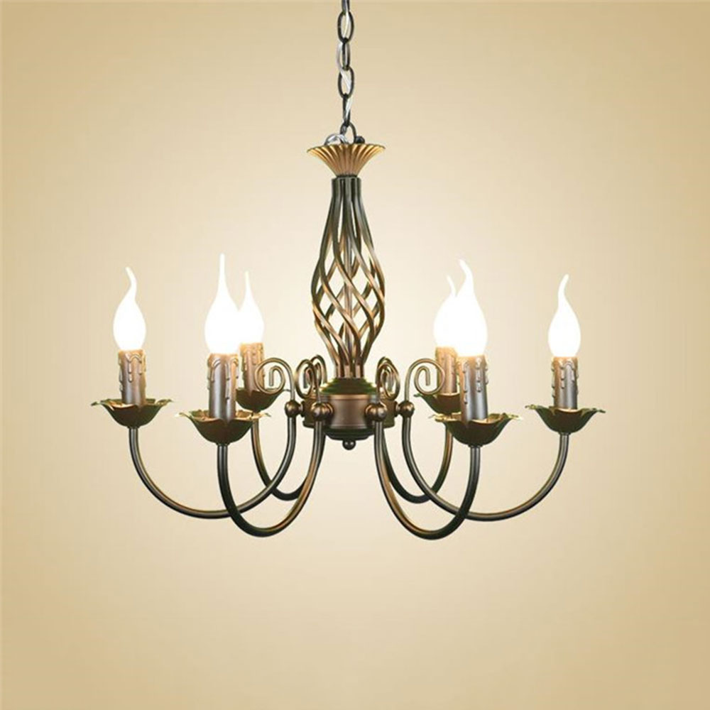 cheap wrought iron chandelier light fixture black hanging lamps for dinning room vintage luminaria abajur para quarto home decor