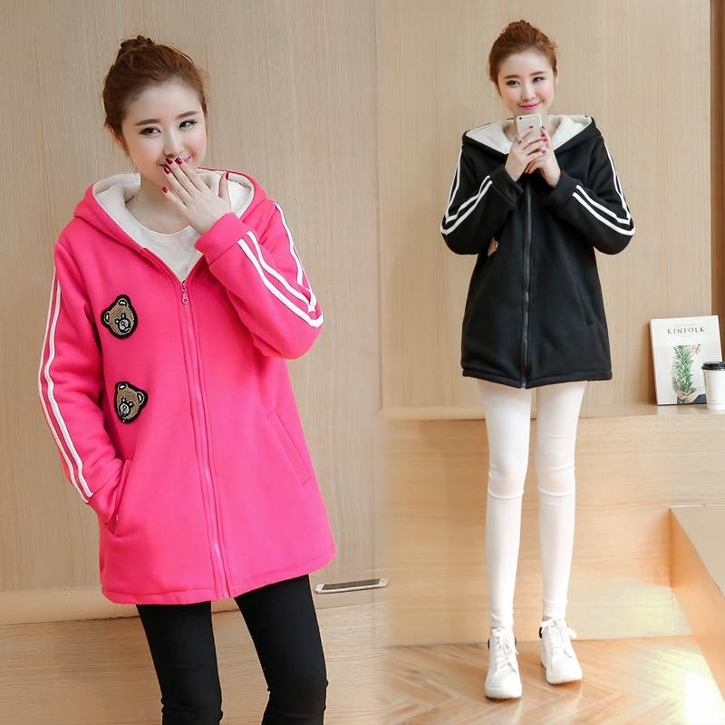ФОТО Plus Velvet Autumn/winter Maternity Sweater Fleece Maternity Hoodies Pregnancy Fleece Jacket Outerwear Maternity Clothing B407