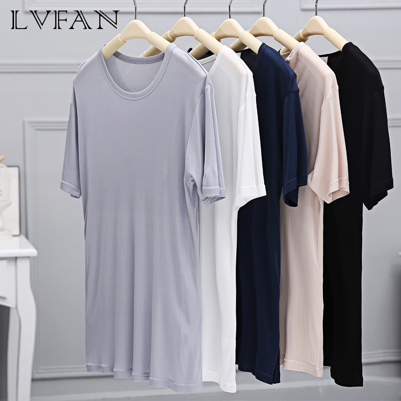 Summer Solid Short Sleeve top silk Men's Round Neck Short-Sleeved Bottoming Shirt Casual Short Sleeve T-Shirts LVFAN Y007