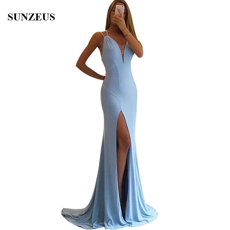 Оболочка Длинные Голубые Вечерние Свадебные платья Простой бретельках спинки разрез стороны Женщины платье abito damigella d'onor