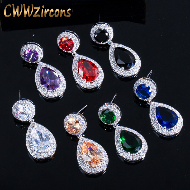 CWWZircons نام تجاری کلاسیک قرمز بنفش قرمز 2.8 قیراط بزرگ CZ گوشواره قطره ای بلور بلند برای زنان مد جواهرات زیرکونیا CZ014