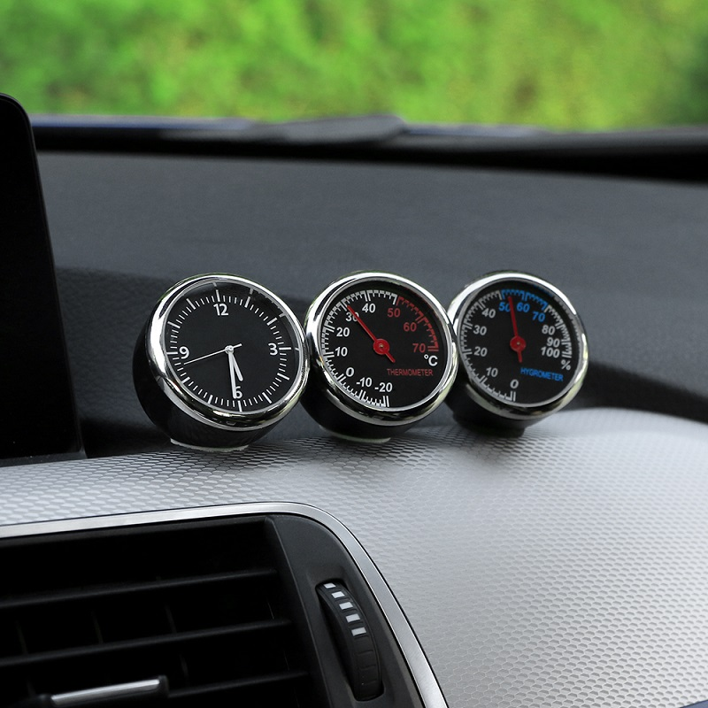Image 4 - Car Mini Automobile Digital Clock Auto Watch Automotive Thermometer Hygrometer Decoration Ornament Clock In Car Accessories-in Ornaments from Automobiles & Motorcycles