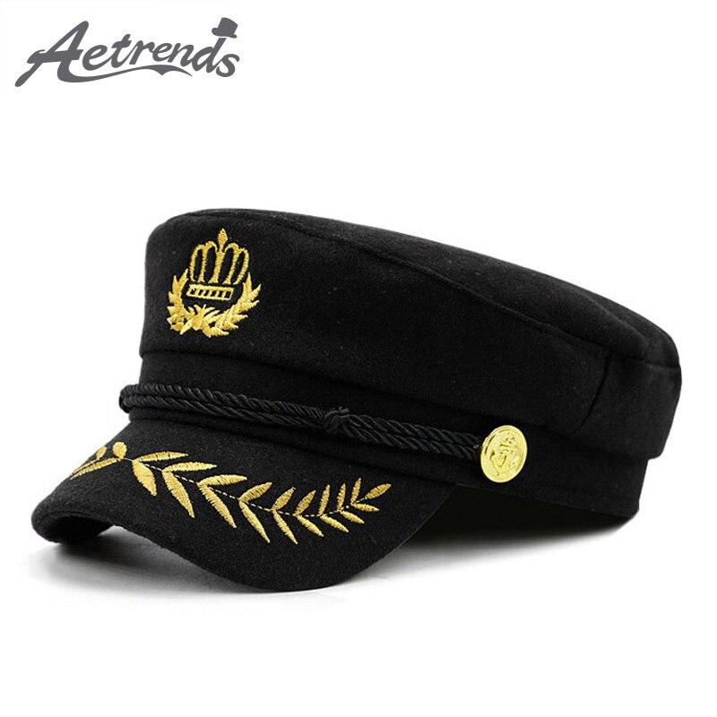 [Aetrends] lã quente feltro militar boné masculino feminino casual tampões do exército flat top marinha capitão chapéu gorra militar Z-6271