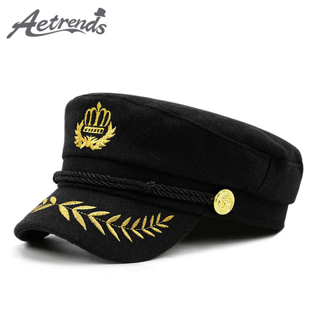 c7ab009c [AETRENDS] 2018 New Warm Woolen Military Cap Men Women Casual Army Caps  Flat Top Navy Captain Hat gorra militar Z-6271